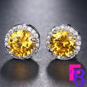 Canary Yellow CZ Halo Earrings